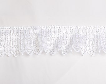 Crystal pleated shiny lace in white for couture, bridal, towels, bedding, dolls 2yards