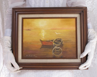 Boats At Sunset Seascape Vintage Oil Painting Cabin Decor Original Oil Row Boats on the Ocean Orange Brown Yellow Earthy Beach Cottage Decor