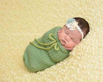 Sage Green Swaddle Sack Newborn Baby Photography Prop