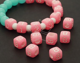 LR-071-PK / 10 Pcs - Numeric Luminous Beads, Phone Number Bead, Anniversary Date, Number Eight, 8, PINK Square / 7mm