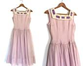 1950s Party Dress - 50s dress - swiss dot - pin up - bridesmaid - swing dress - lavender - full skirt - XS
