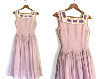 1950s Party Dress - 50s dress - swiss dot - pin up - bridesmaid - swing dress - lavender - full skirt - XS