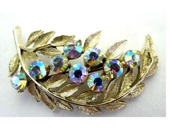 Leaf Brooch with Aurora Borealis Rhinestones Gold Plated Apparel & Accessories Jewelry Vintage Jewelry Brooch Rhinestone