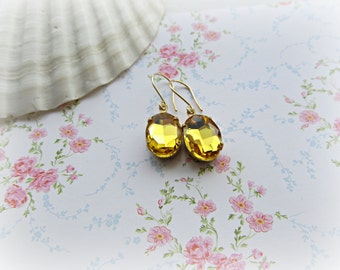 Yellow Rhinestone earrings,  Sunshine Yellow Oval earrings
