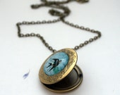 Blue Bird Locket Keepsake Necklace Bluebird of Happiness