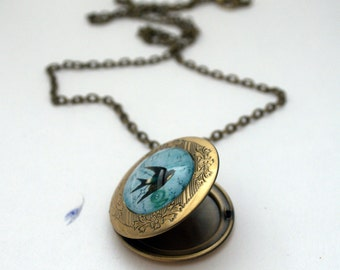 Blue Bird Locket - Keepsake Necklace - Bluebird of Happiness
