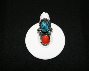 Native American Turquoise & Coral Sterling Silver Ring