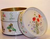 Vintage Herb/Floral  3 Stack Cookie Tin-Perfect for Holiday Baking