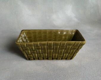Vintage Brush Avocado Green Basket Weave Planter