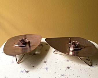 Vintage Pair of  1950s Atomic David Douglas Candle Holders