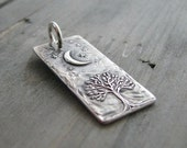 Smiling Moon, Personalized Fine Silver Pendant, Handmade in Recycled Silver From Artisan Original Carving, by SilverWishes