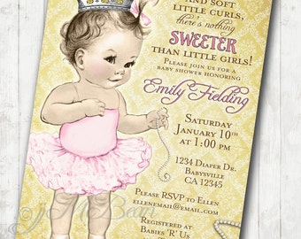 Girl Baby Shower Invitation For Girl - Princess - Crown - Pink and Gold - DIY Printable