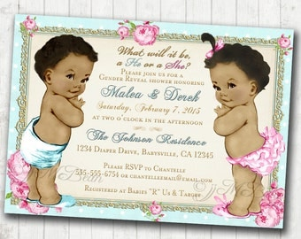 Baby Gender Reveal Invitation, African American, twins, vintage, shabby chic - DIY Printable