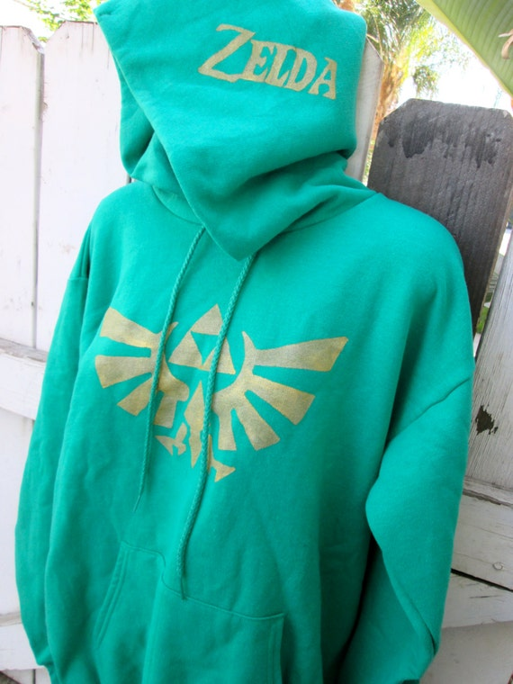KELLY green Legend of Zelda zip up hoodie adult