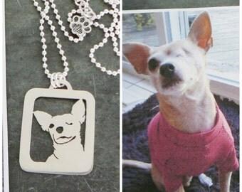 Pendant Necklace, Custom Pet Portrait personalized .. Dog Art, Open Back, Head Shot Chihuahua