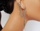 Non Pierced Ear Cuff Wrap Double Chain Silver Feather and Earrings
