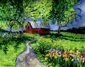 Giclee Canvas Print Country Summer Landscape ,Fine Art Print of orginal acrylic painting,8x10 by P. Fleckenstein