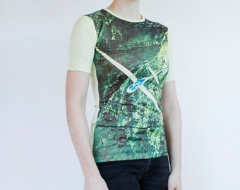 Vintage 70's photoprint t-shirt, glider plane, shirt has been altered along side seams - XS women