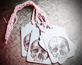 Skull Tags, Halloween Gift Tags, Skull Paper Tags, Skeleton Gift Tags,Gift Tags with Baker's Twine, Skull Stamped Tags, Halloween Party