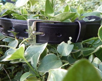 Black Leather 1 1/4 inch wide Dress belt