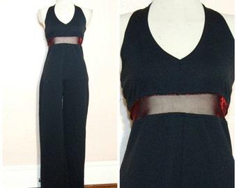 90s Black Mesh Insert Jumpsuit Medium Large Halter Sheer Waist Goth Party Club Kid