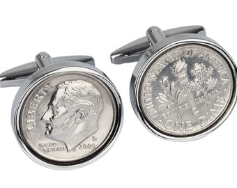 2006 Wedding Anniversary gift Idea- 10 year 2006 Coin cufflinks.Genuine coin from the year you were married
