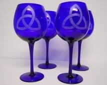 Cobalt Blue Engraved Celtic Knot Balloon Glasses