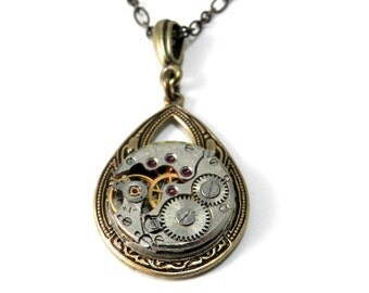 Steampunk Necklace - Petite Watch Movement Teardrop Pendant - Mechanical Watch Movement Necklace in Brass
