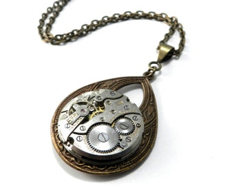 Steampunk Necklace, Antique Watch Movement Teardrop, Brass, Steampunk Jewelry by Compass Rose Design