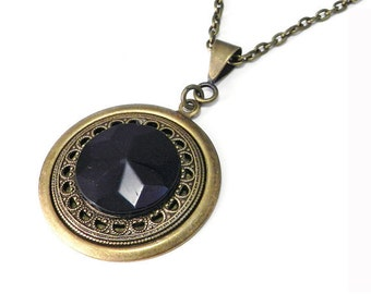 Victorian Mourning Button Necklace Antique Button Necklace Black Glass Mourning Button Pendant