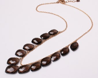 Smokey Quartz Leaf Drops Necklace on 14k Gold-Filled, Smoky Quartz Drops Necklace, Dark Brown Statement Necklace, Lula Designs