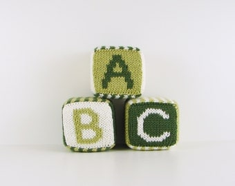 Set of Three Knitted Blocks- Greens and White