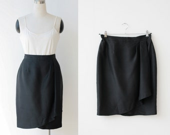 1990s vintage black SILK skirt Large, Constance Saunders designer faux wrap mini skirt L