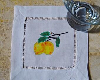 Linen Cocktail Coasters Lemons Linen Beverage Coaster Set Cloth Coasters Gift Party Ware Bar Ware