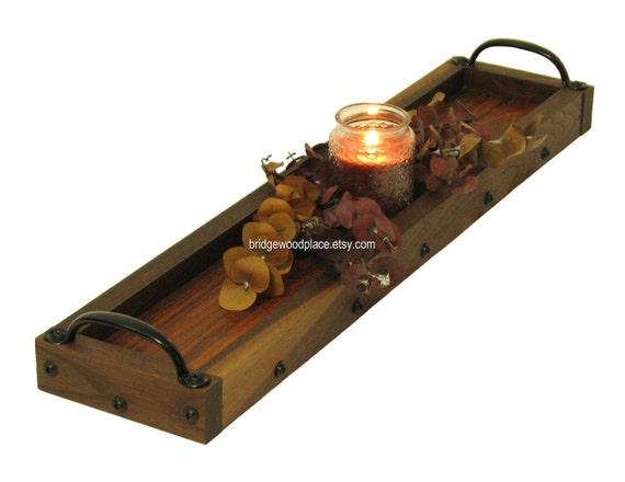 Candle Tray Wood Centerpiece In Dark Walnut Amp Brazilian Cherry