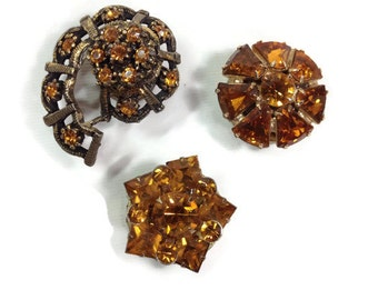 Vintage Amber Rhinestone Jewelry Magnets set of 3