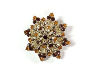 Amber and Brown Rhinestone Brooch