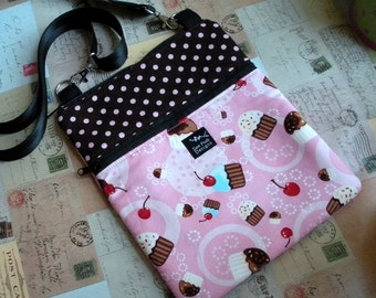 Cupcakes Pink Brown Polka Dost Ipad Mini Nook Tablet Kindle Fire E Reader Passport Sling Messenger Crossbody Washable Fabric