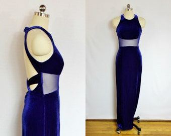 Vintage Electric blue velvet cut out maxi dress