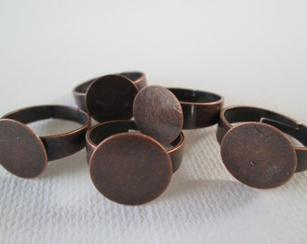 5PCS - Ring Blanks - Copper - Adjustable - 12mm - Round Pad