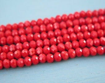 3mm Faceted Red Crystal Rondelles - 1 strand - Findings by Zardenia