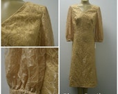 """1960s Lace Dress, Golden, 3/4"""" Sleeves, Hand Sewn, Large, XL  #48423"""