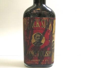 Stove Polish Bottle Antique Collectible Black Silk Brand  J L Prescott Co Passiac New Jersey Old Vintage Bottle Edwardian Housekeeping