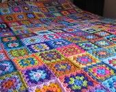 Granny Squares Kaleidoscope Crochet Afghan Blanket Large Sofa Throw