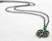 St. Patrick's Day Necklace. Four Leaf Clover Pendant. Irish Shamrock for Good Luck. Green Crystal Necklace, Wire Wrapped Gift for her