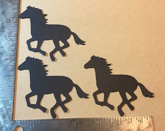 3 Running Horse Die Cuts - pick your color