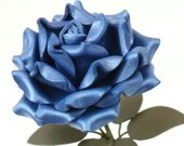 Blue Leather Rose third Anniversary wedding gift Long Stem leather flower Valentine's Day 3rd Leather Anniversary Mother's Day