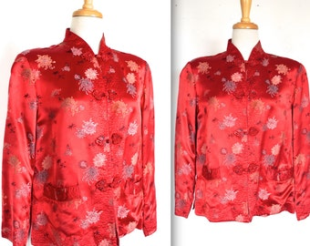 Mandarin 1960's Jacket // 60s Red Satin and Embroidered Floral Print Mandarin Jacket // The Lady From Shanghai