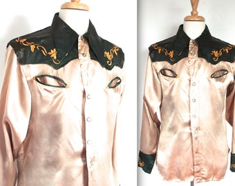 Vintage 1940's Shirt // 40s Cream and Forest Green Satin Rockabilly Western Shirt with Embroidery // DIVINE