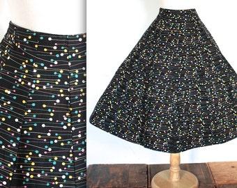 Vintage 1950s Skirt // 50s Black and Pastel Atomic Polka Dot Print Circle Skirt // Rockabilly Novelty Skirt // DIVINE